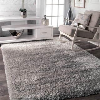 nuLOOM Soft and Plush Solid Thick Shag Grey Rug (5'3 x 7'7)
