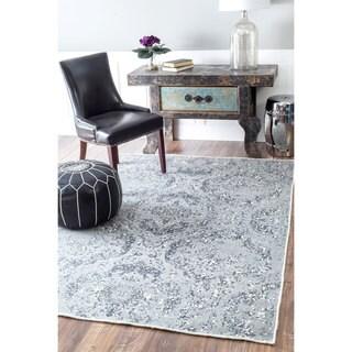 nuLOOM Handmade Floral Trellis Wool Ghost Blue Rug (5' x 8')