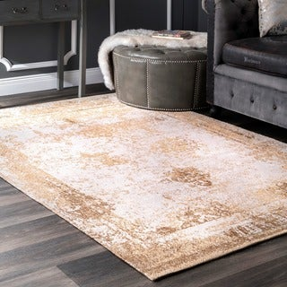 nuLOOM Handmade Distressed Abstract Vintage Wool Sand Rug (7'6 x 9'6)
