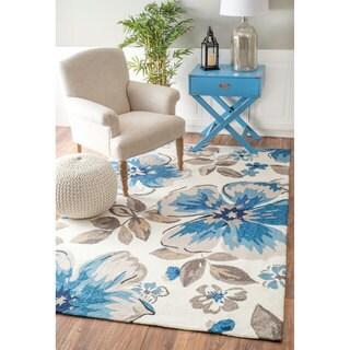 nuLOOM Handmade Bold Floral Indoor/ Outdoor Ivory Rug (5' x 8')