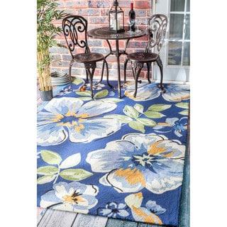 nuLOOM Handmade Bold Floral Indoor/ Outdoor Blue Rug (9' x 12')