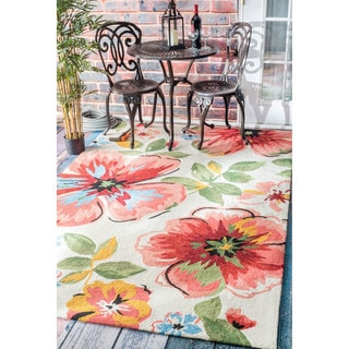 nuLOOM Handmade Bold Floral Indoor/ Outdoor Rust Rug (9' x 12')