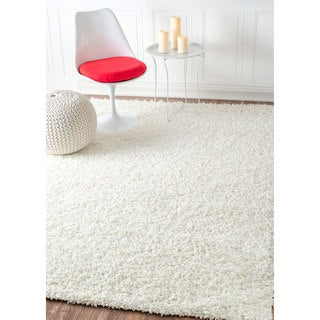 nuLOOM Soft and Plush Modern Solid Shag White Rug (5' x 8')