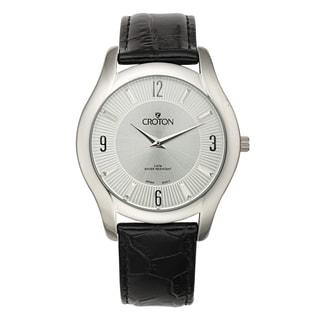 Croton Men's CN307501BSSL Stainless Steel Silvertone Leather Strap Watch
