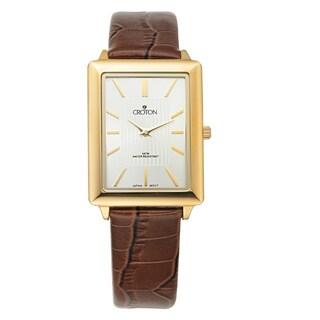 Croton Men's CN307503YLSL Stainless Steel Rosetone Leather Strap Watch
