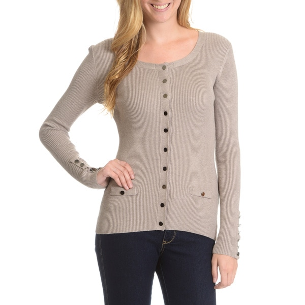 Cyrus Women's Stretch Ribbed Button Front Cardigan 16360047