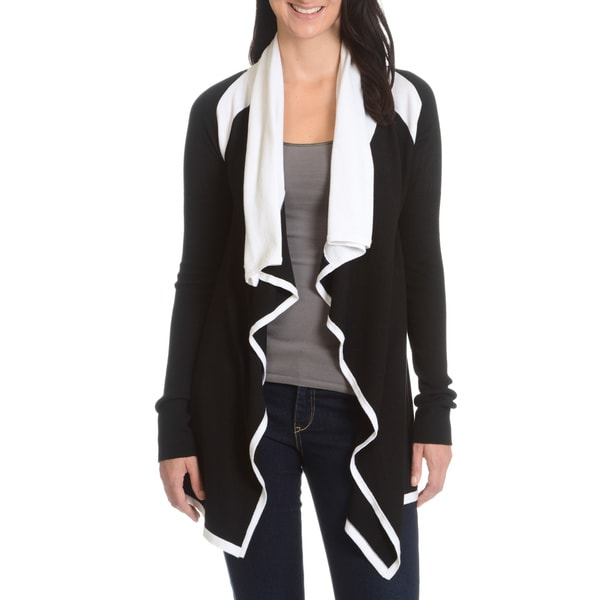 Cyrus Women's Draped Black/White Cardigan
