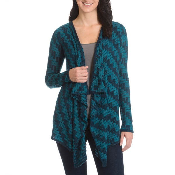 Cyrus Women's Draped Zig Zag Pattern Cardigan