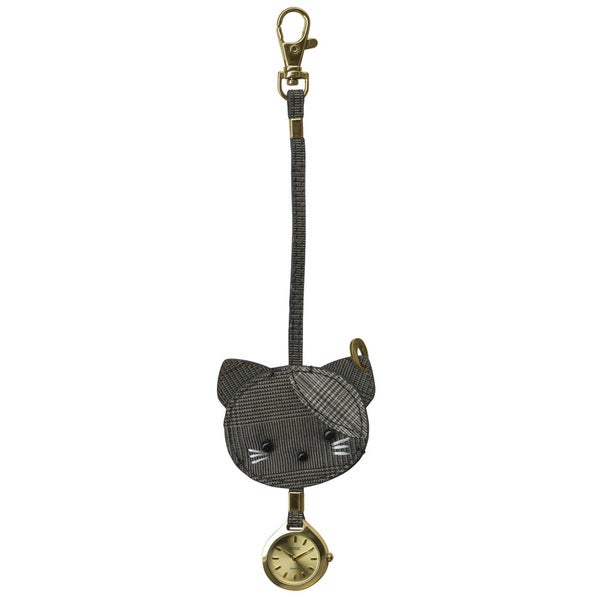 Dakota Moxie Plaid Fabric Cat Hanging Purse Charm Clock