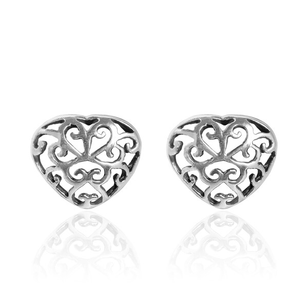Floral Filigree Swirl Heart Sterling Silver Stud Earrings (Thailand)