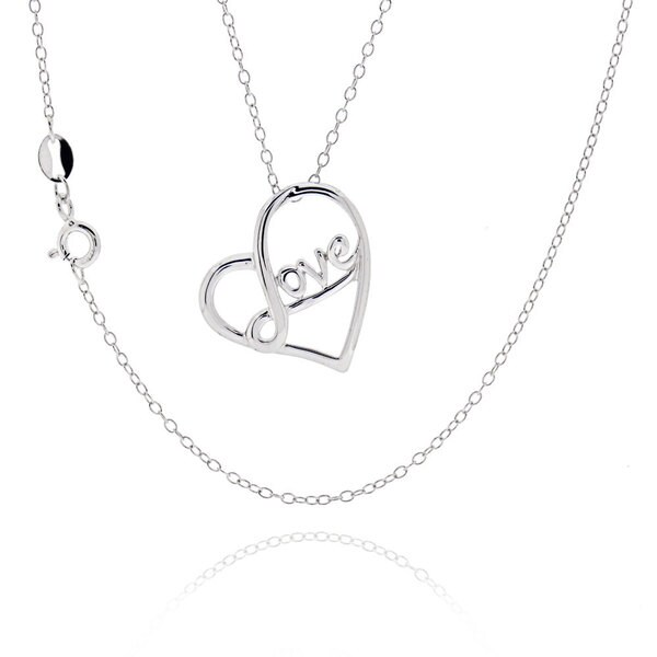 Sterling Silver Love Theme Heart 18-inch Necklace   (China) 16360129