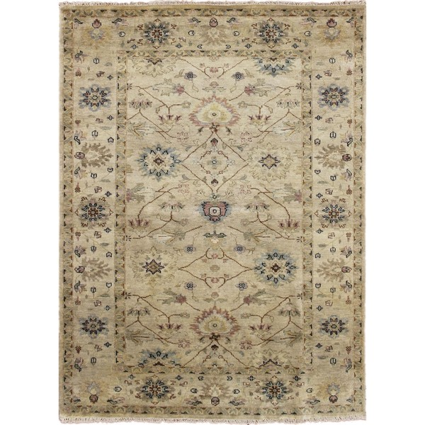 Indo Mahal Annis Beige Hand-knotted Rug, (6' x 9')