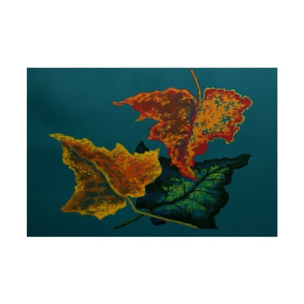 E by Design Autumn Colors Flower Print Outdoor Rug (2' x 3')