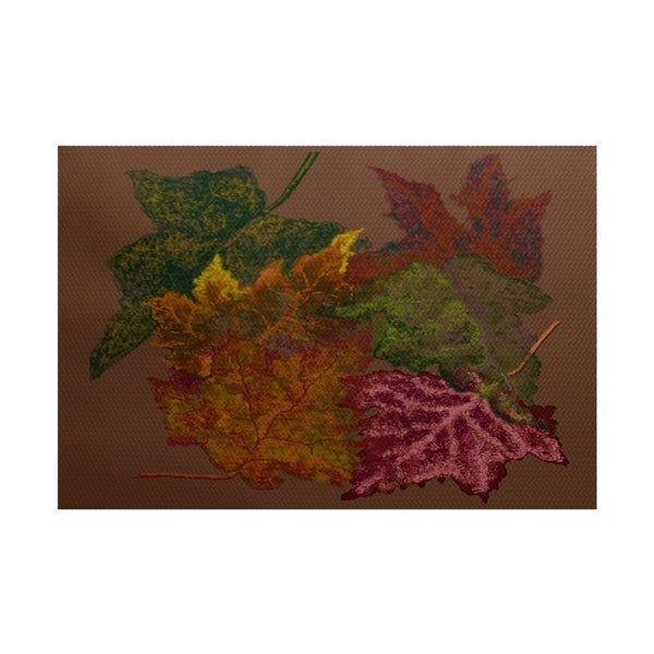 E by Design Autumn Leaves Flower Print Outdoor Rug (2' x 3')