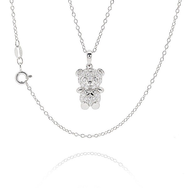 Sterling Silver Cubic Zirconia Teddy Bear 18-inch Necklace (China)