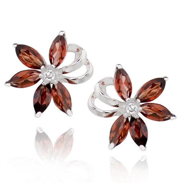 Sterling Silver Marquise Garnet Flower Stud Earrings