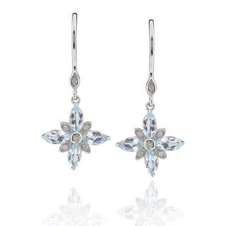 Sterling Silver Marquise Blue Topaz Earrings (China)