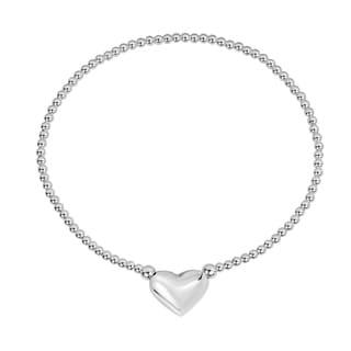 Charming Puffy Heart .925 Silver Elastic Beads Bracelet (Thailand)