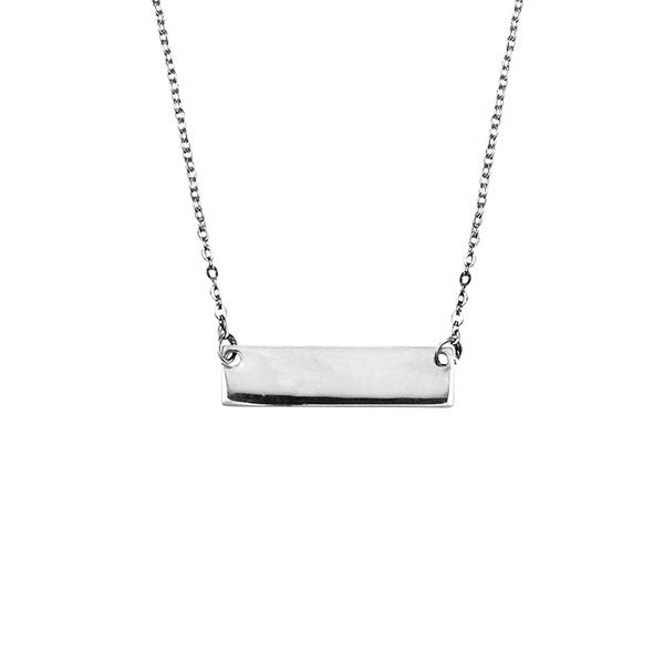 Engravable Rectangle Bar .925 Sterling Silver Necklace (Thailand)