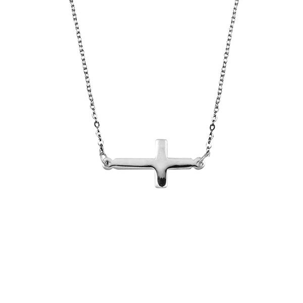 Sideways Cross of Salvation .925 Sterling Silver Necklace (Thailand)
