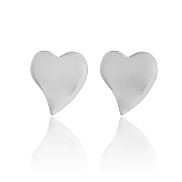 Love Curvy Heart .925 Sterling Silver Stud Earrings (Thailand)