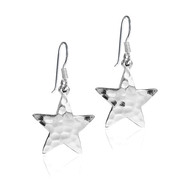 Hammered Wishing Star .925 Sterling Silver Dangle Earrings (Thailand)