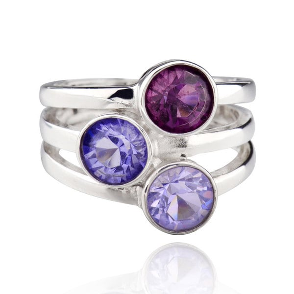 Sterling Silver Multi Round Crystal Ring (China) 16360452