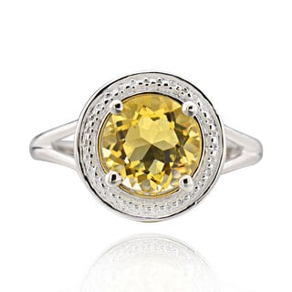 Sterling Silver Round Citrine Ring (China)