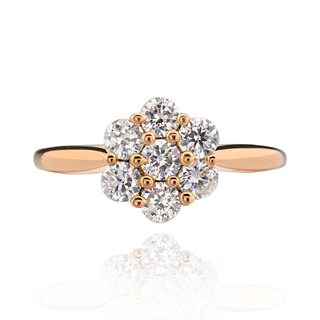 Sterling Silver Rose Gold Plated Round Cubic Zirconia Flower Ring (China)