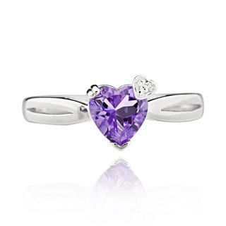 Sterling Silver Heart Amethyst Ring (China)