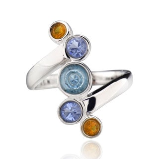 Sterling Silver Multi Round Crystal Bypass Ring (China)