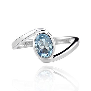 Sterling Silver Oval Blue Topaz Bypass Ring (China)