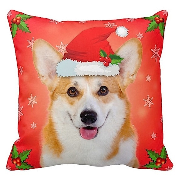 Welsh Corgi in Santa Hat Christmas 16x16 Throw Pillow
