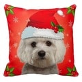 Maltese in Santa Hat Christmas 16x16 Throw Pillow