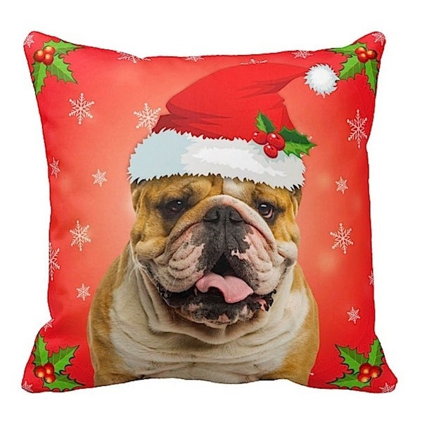 English Bulldog in Santa Hat Christmas 16x16 Throw Pillow
