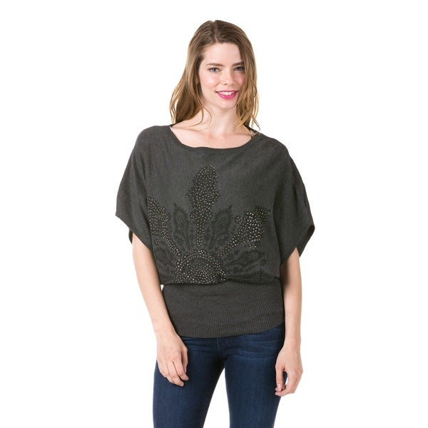 Women's Embellished Grey Boat Neck Tunic (One Size Fits Most)