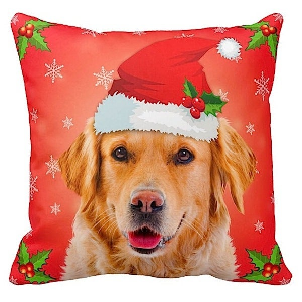 Golden Retriever in Santa Hat Christmas 16x16 Throw Pillow