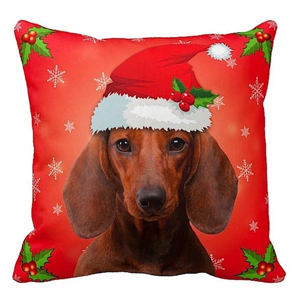 Dachshund Brown in Santa Hat Christmas 16x16 Throw Pillow