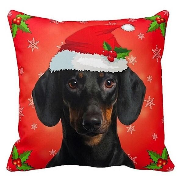 Dachshund Black in Santa Hat Christmas 16x16 Throw Pillow