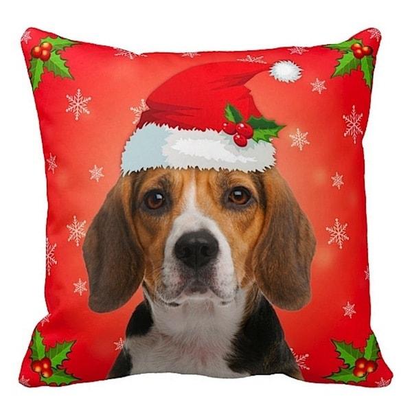 Beagle in Santa Hat Christmas 16x16 Throw Pillow