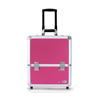 Jacki Design 17-inch Rolling Aluminum Makeup Carry-on Train Case
