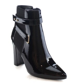 Machi Skyler Women's Fashion Pointed Toe High Heel Buckled Ankle Booties