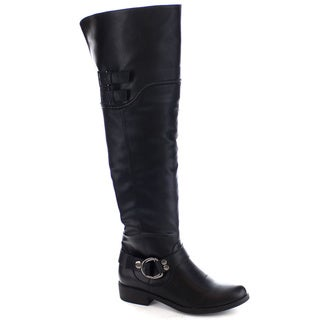 Machi Lily-5 Women's Buckle Strap Over the Knee High Flat Heel Boots