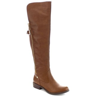 Machi Lily-6 Women's Motorcycle Buckled Over the Knee High Flat Boots