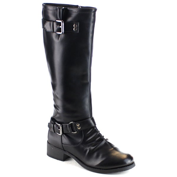 EYE CANDIE GRACE-5 Women Ruched Buckle Strap Side Zipper Knee High Riding Boots