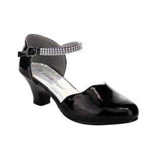 Beston BA05 Girl's Rhinestone Accent Ankle Strap Kitten Heel Pumps