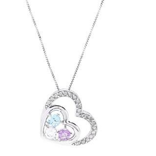Sterling Silver 1/4ct TDW Diamond Multi Stone Heart Pendant