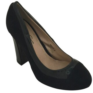 Women's Suede Pump with Patent Leather Trim