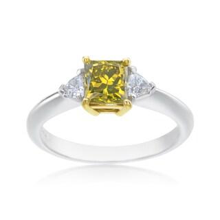 SummerRose Platinum and 18k Yellow Gold 1 1/3ct TDW Princess-cut Yellow Diamond 3-stone Ring