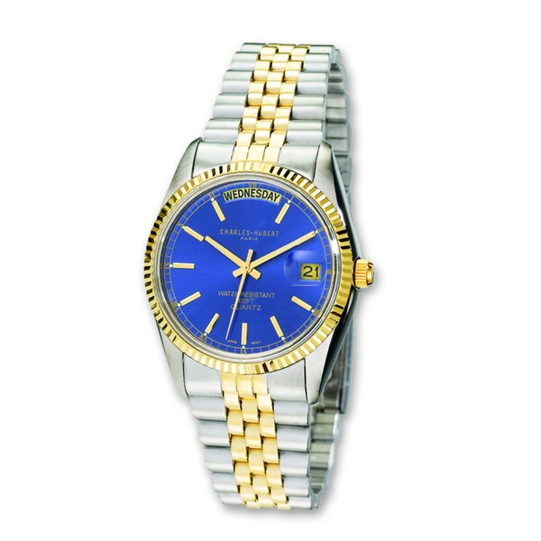 Mens Charles Hubert Two-tone Stainless Steel Blue Dial Watch